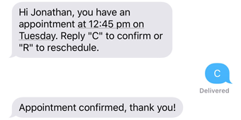 Appointment reminder schedule